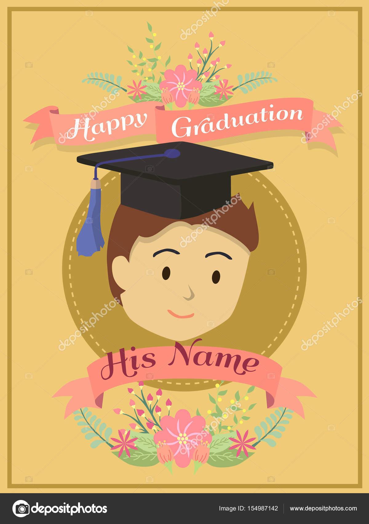 gratulationskort examen Gratulationskort lyckliga examen brun pojke — Stock Vektor  gratulationskort examen