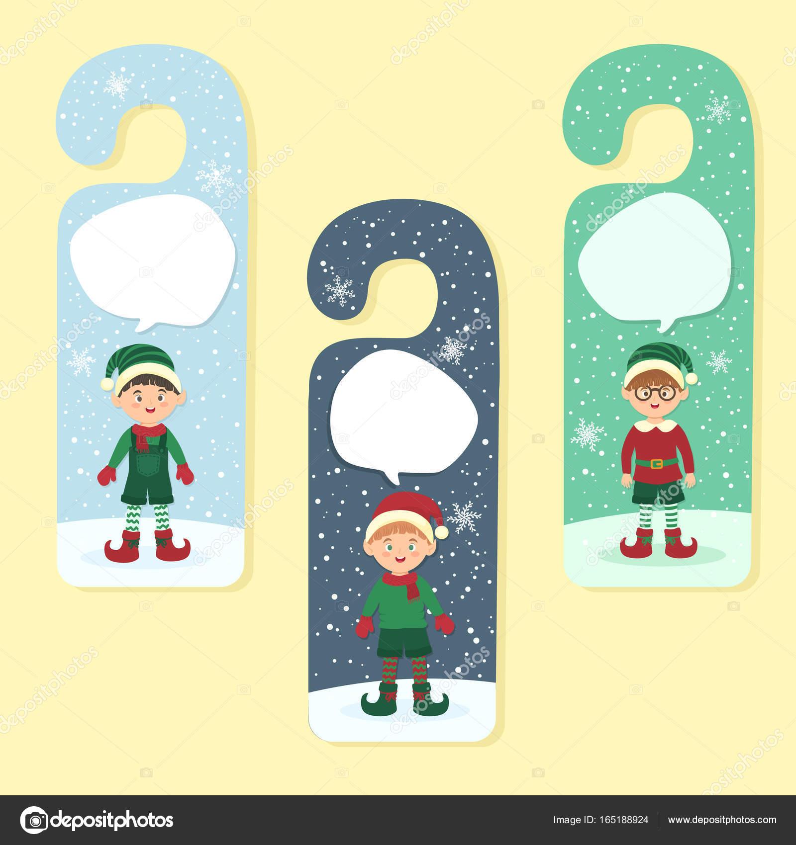 christmas hanger greeting card elves boy stock vector anitnov
