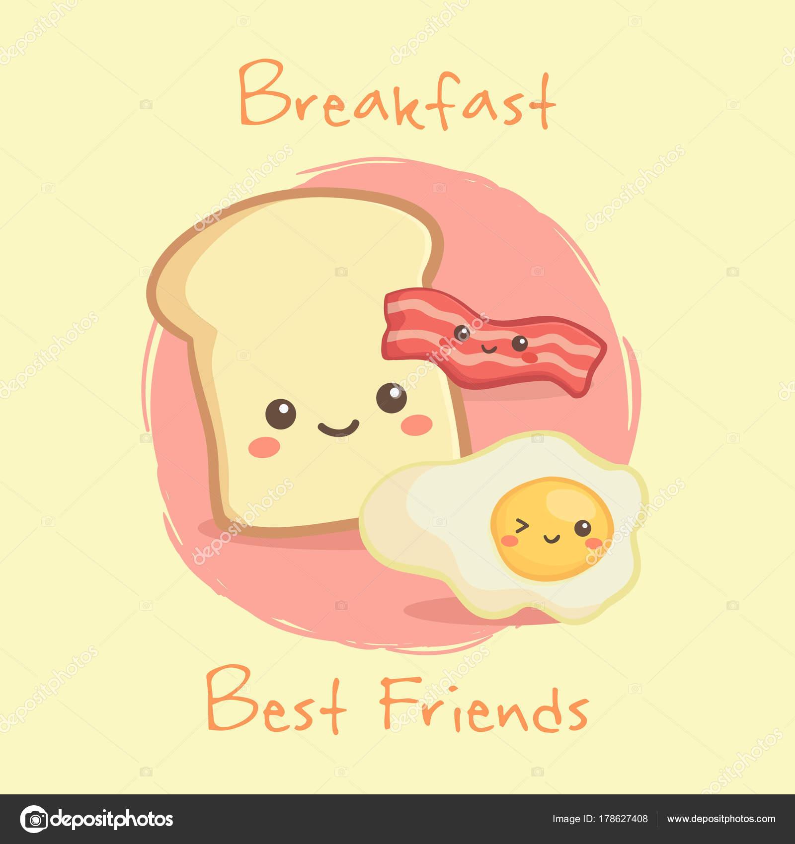かわいい朝食食品ベーコン 目玉焼き ベクトル イラスト漫画文字最大