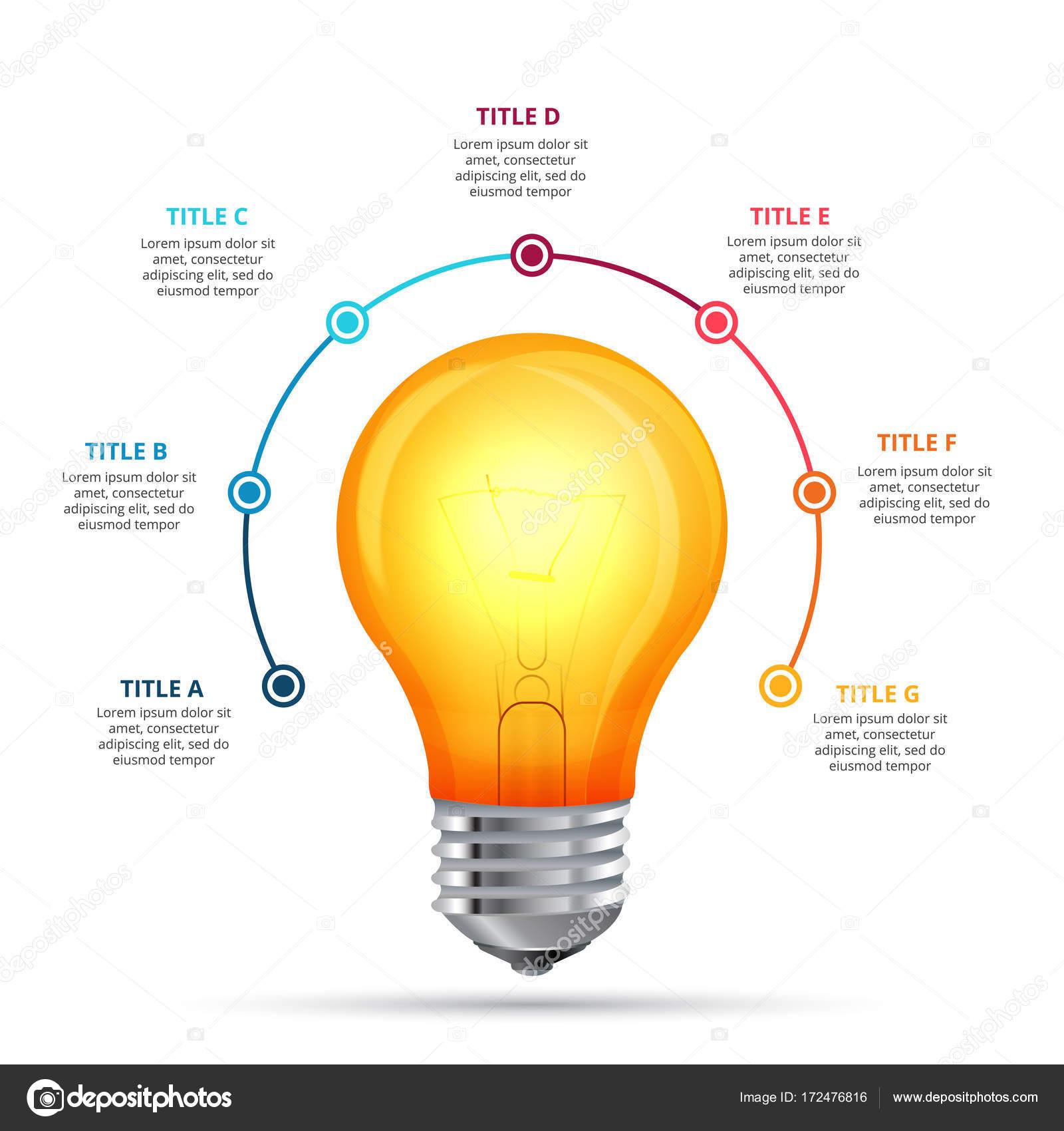 Vektor-Glühbirne-Infografik-Design-Vorlage. Geschäftskonzept mit 7 ...