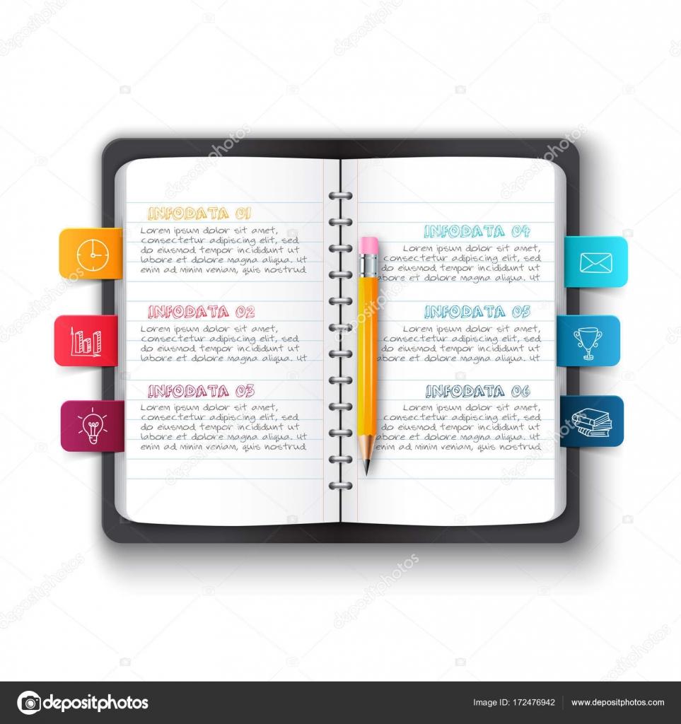 Vektor-Notizbuch mit Bleistift und Lesezeichen für Infografik ...