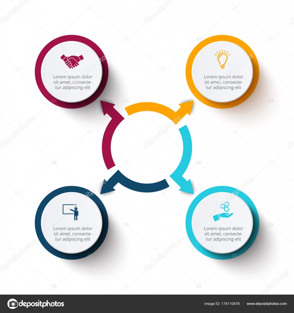 Vector circle elements with arrows for infographic template for abstract flat elements of cycle diagram with 4 steps options or processes vector business template for presentation creative concept for infographic ccuart Choice Image