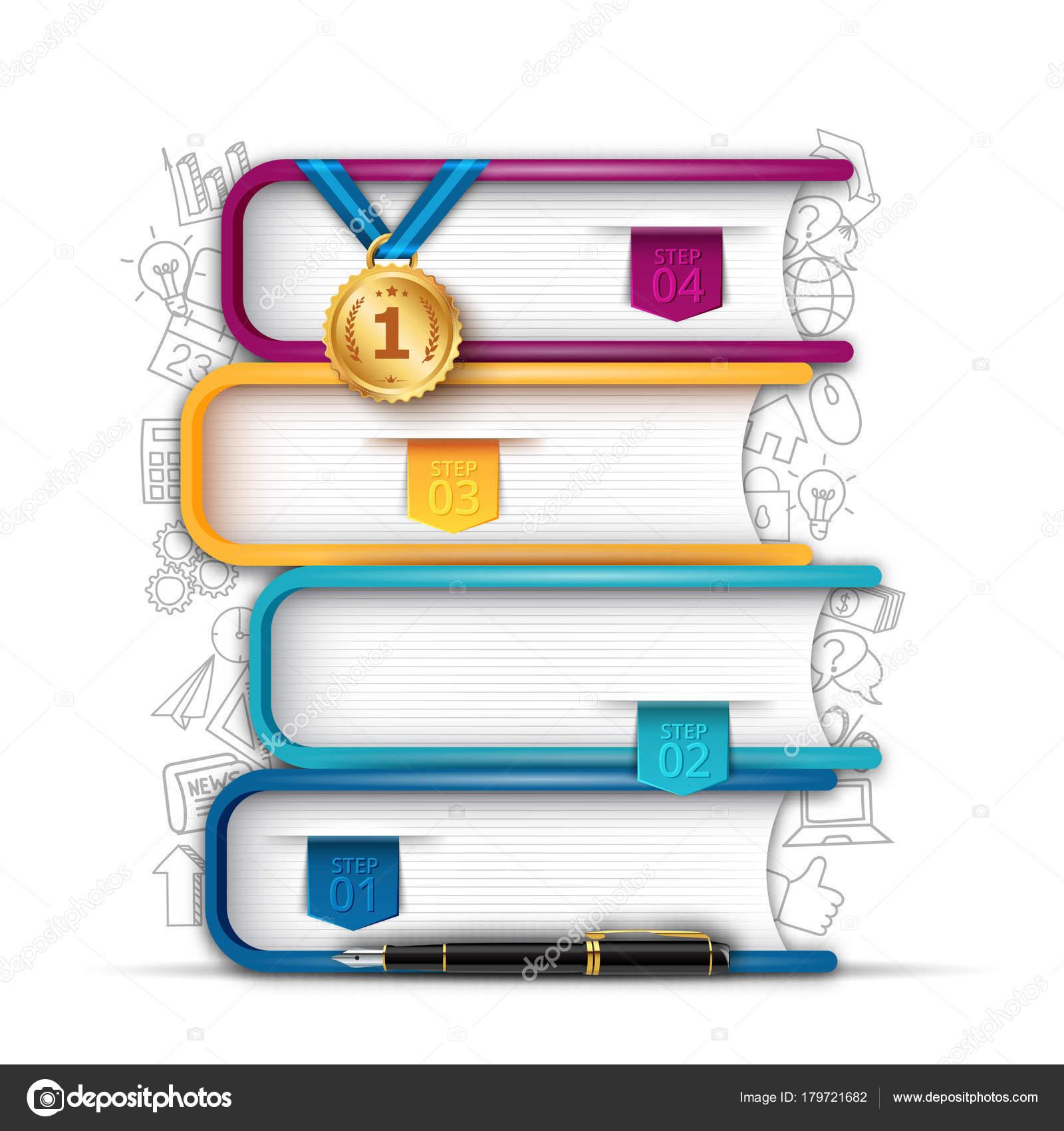 Bücher Schritt Bildung Infografik mit Lesezeichen. Vorlage für die ...