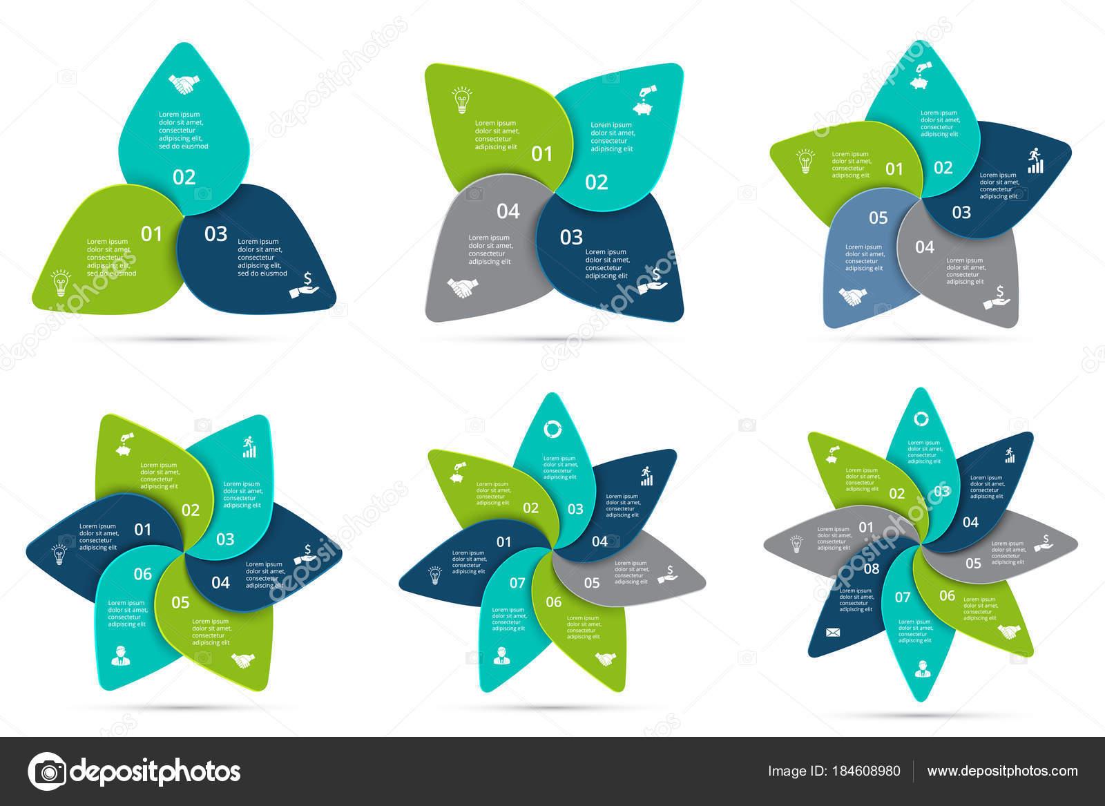 Vektor-Zyklus Infografiken festgelegt. Vorlage für Diagramm, Grafik ...