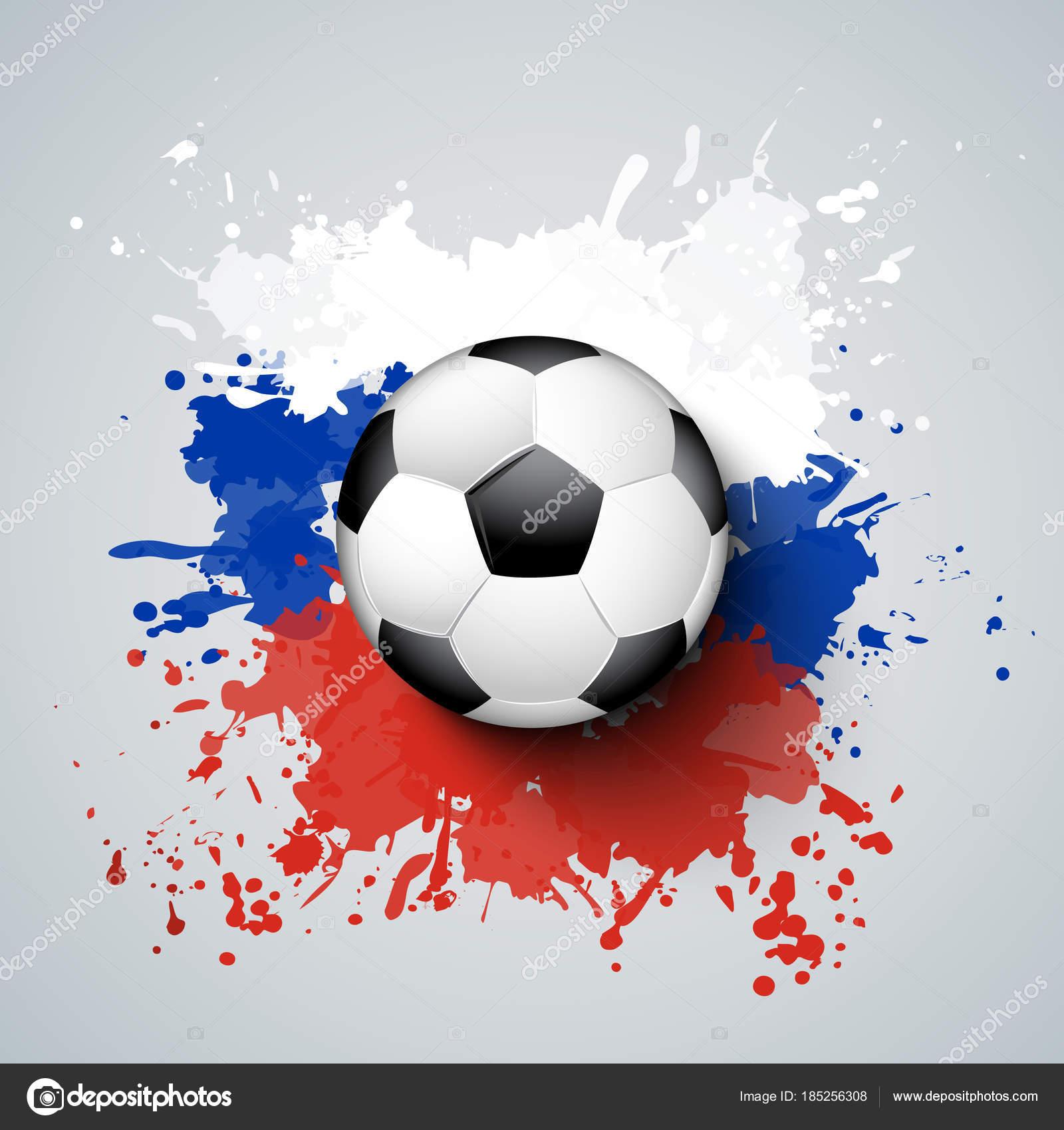 Fußball-Weltmeisterschaft 2018 mit Ball und Russland Flagge Farben ...