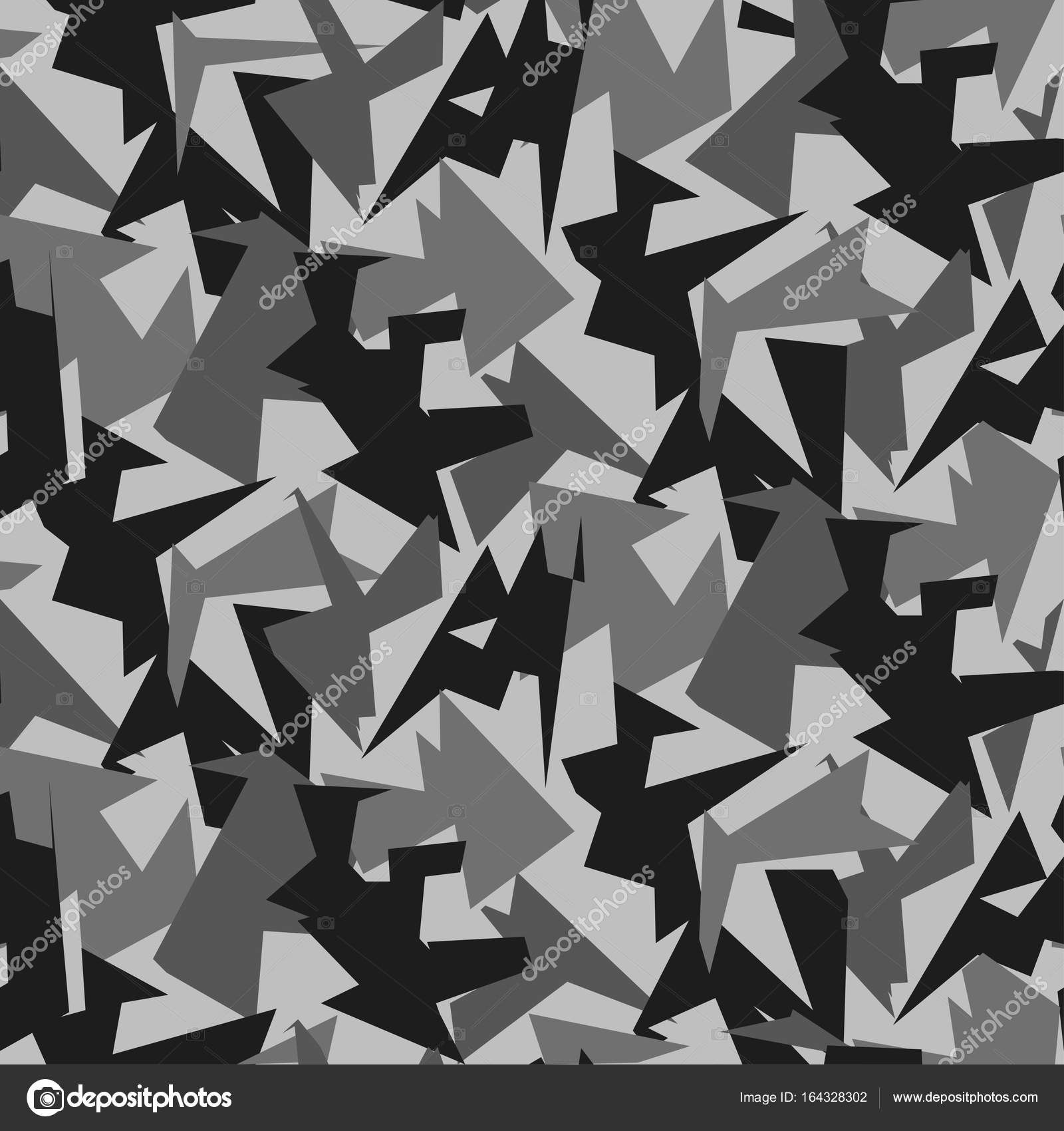 Abstract Vector Grey Military Camouflage Background Pattern Of Geometric Triangles Shapes For Army Clothing By CRVL