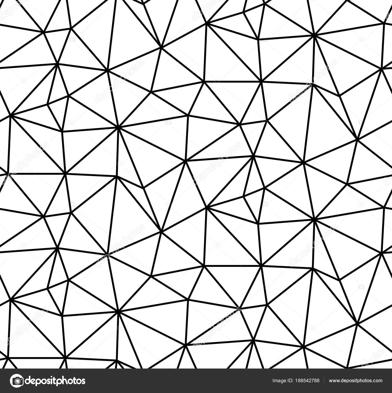 Abstract vector seamless background of broken lines monochrome polygonal pattern black white wallpaper