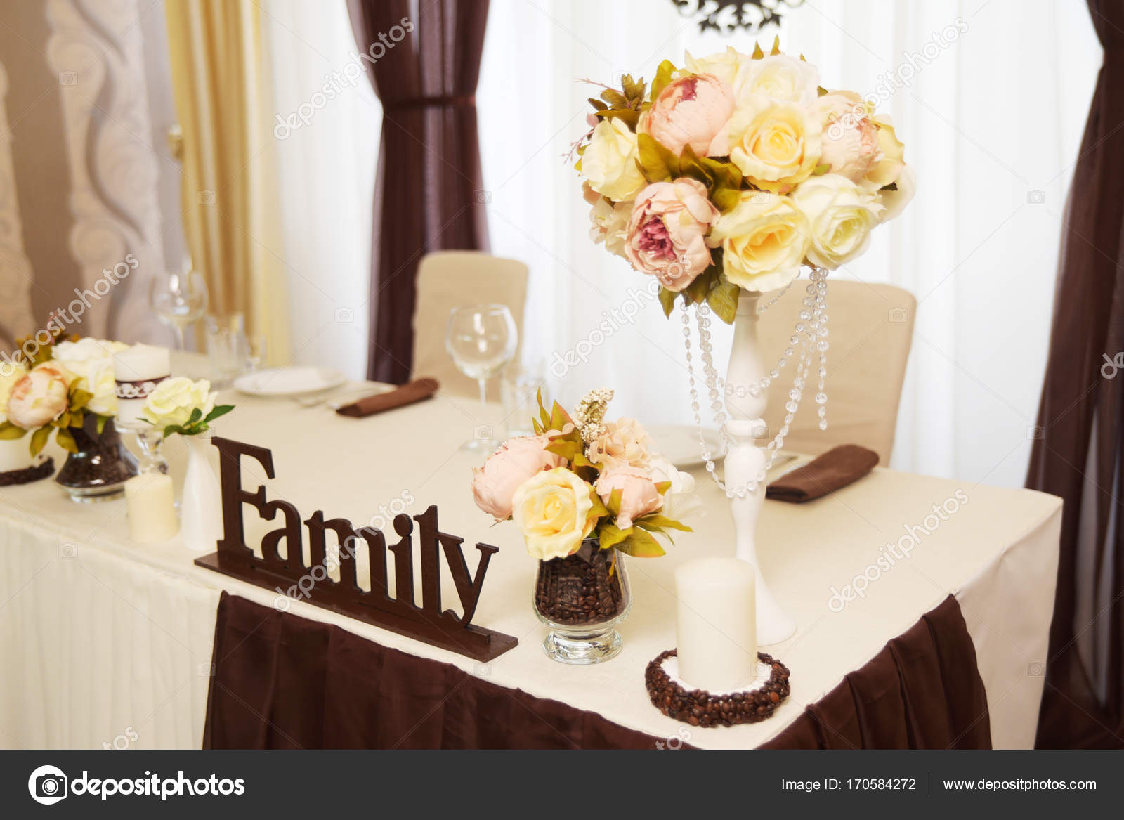 Wedding Decorations Flowers And Coffee Beans Stock Photo