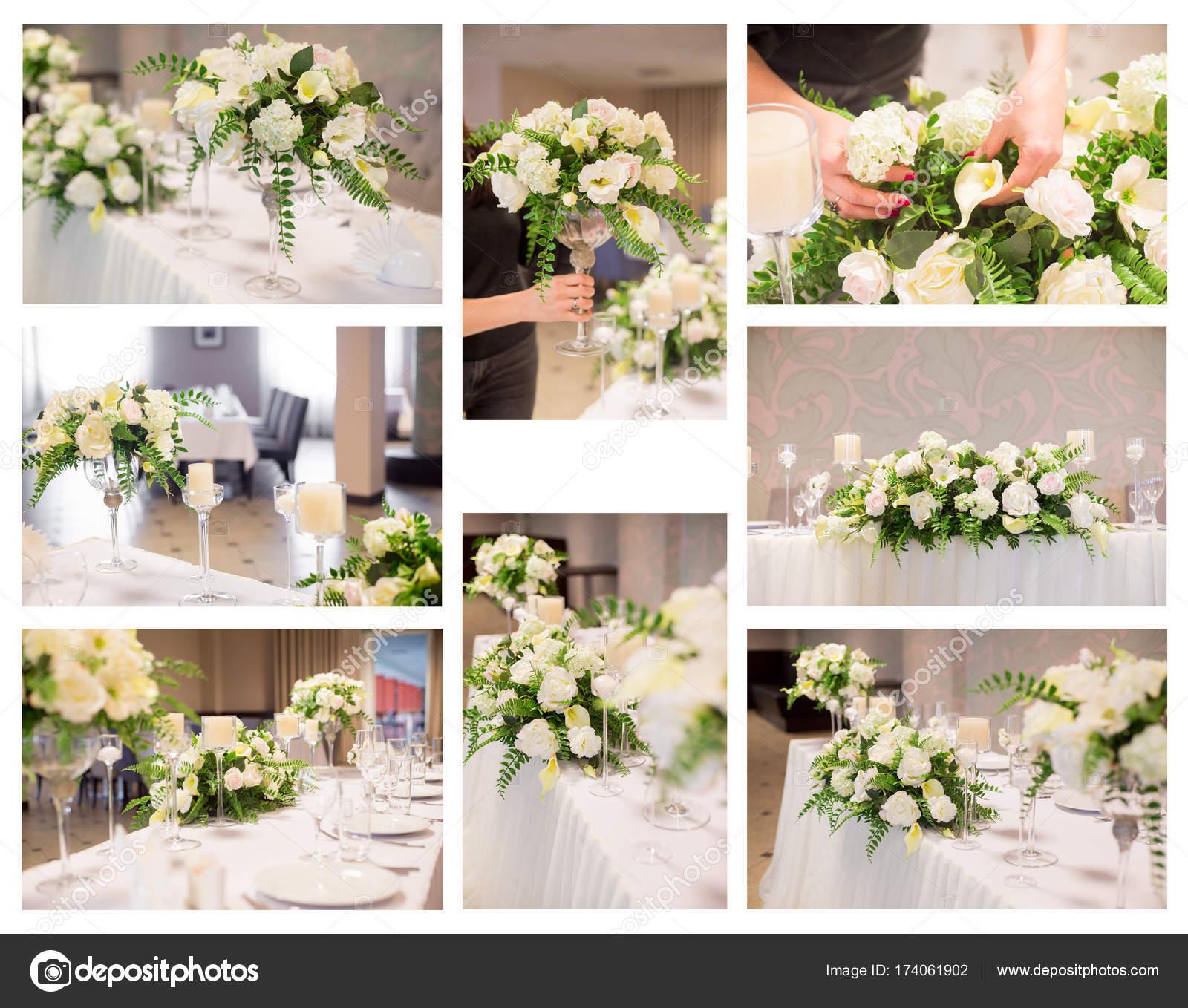 Eine Collage Von Bildern Der Hochzeit Dekor Im Innenraum Weisse