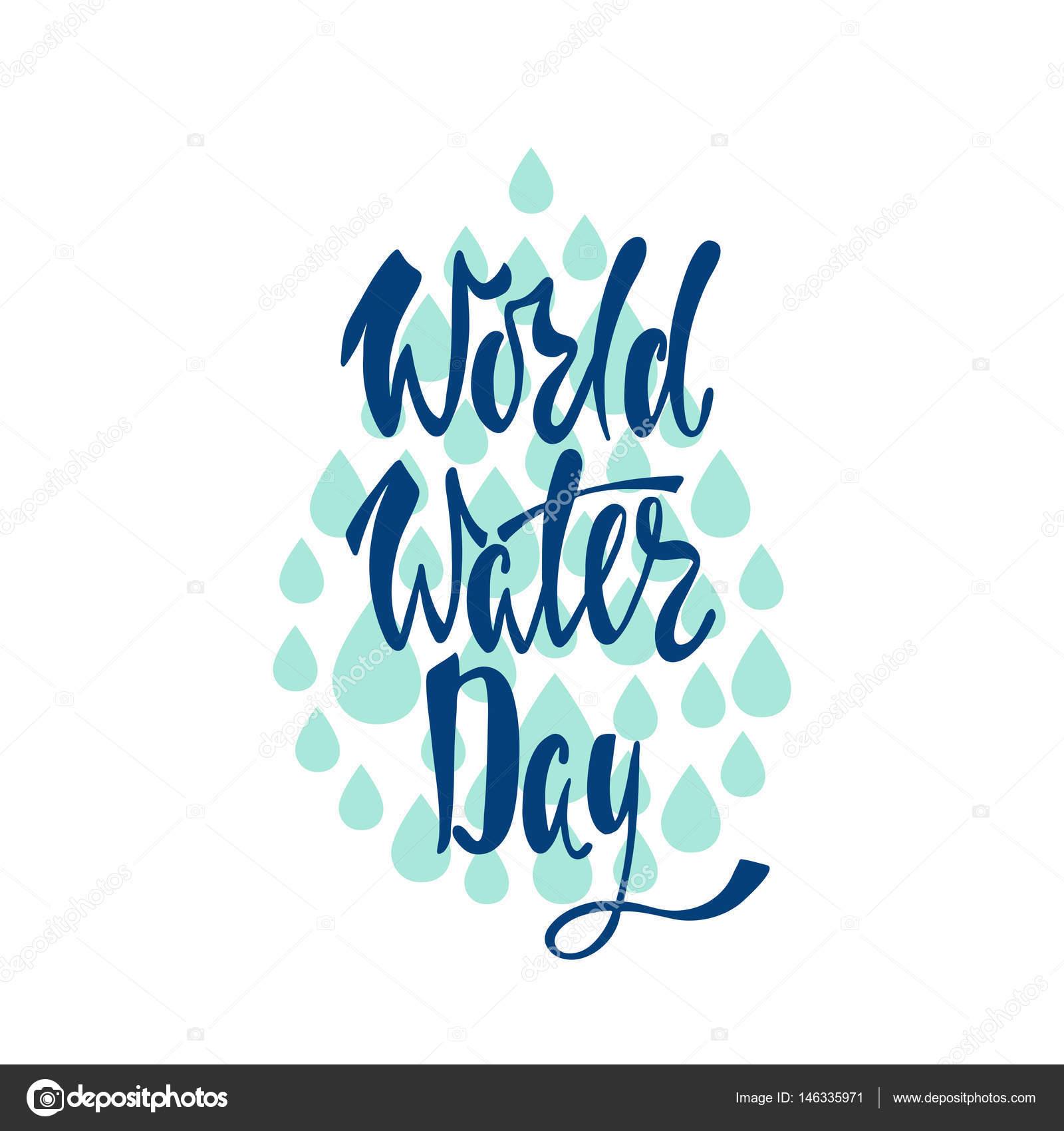 Frase De Rotulação De água Dia Mundial Vetores De Stock Maroshka