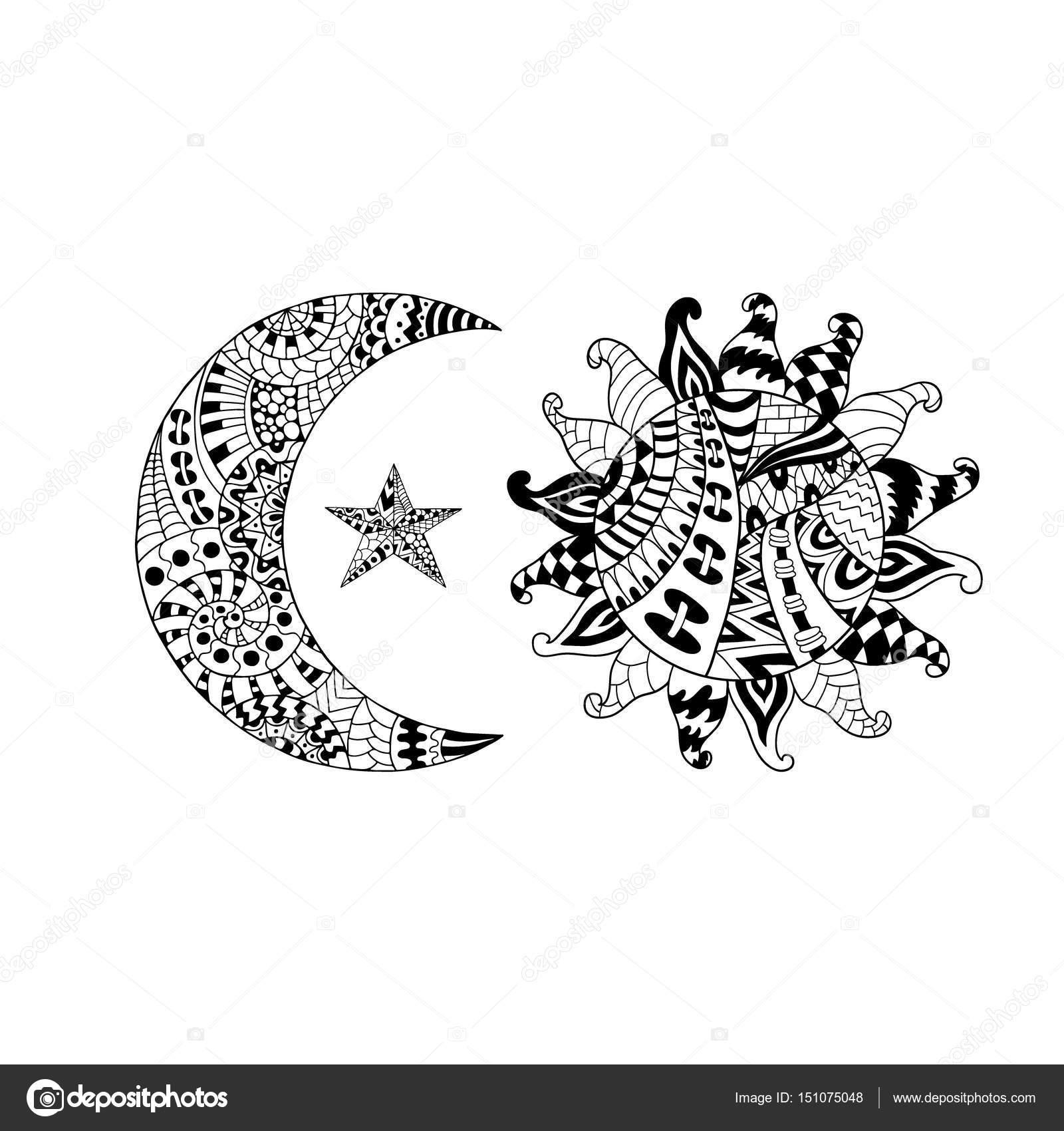 Von Hand gezeichnete Sonne, Neumond und Stern für anti-Stress ...