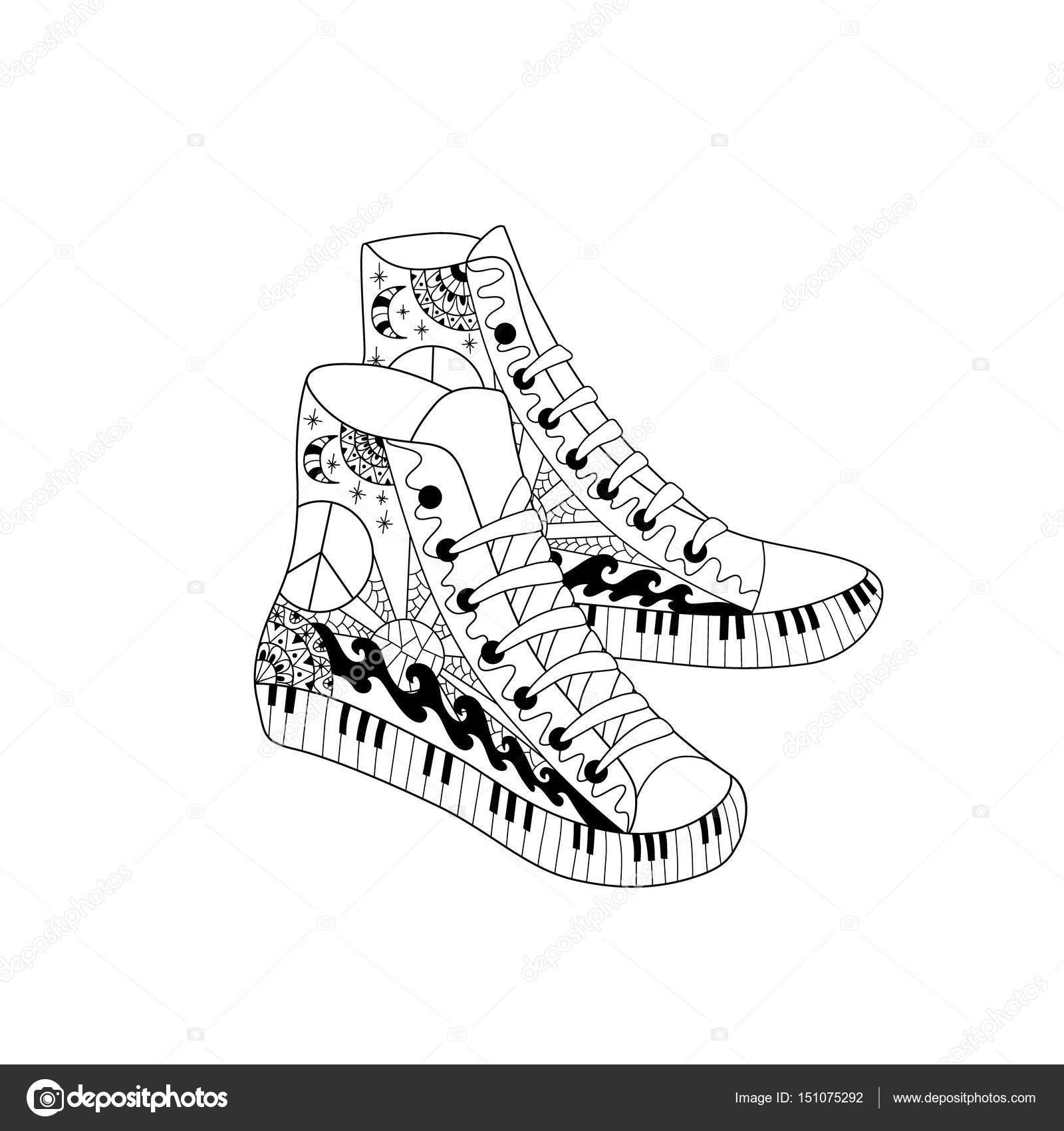 Hippi Yüksekliği Spor Ayakkabı Zentangle Tarzı Boyama Kitabı