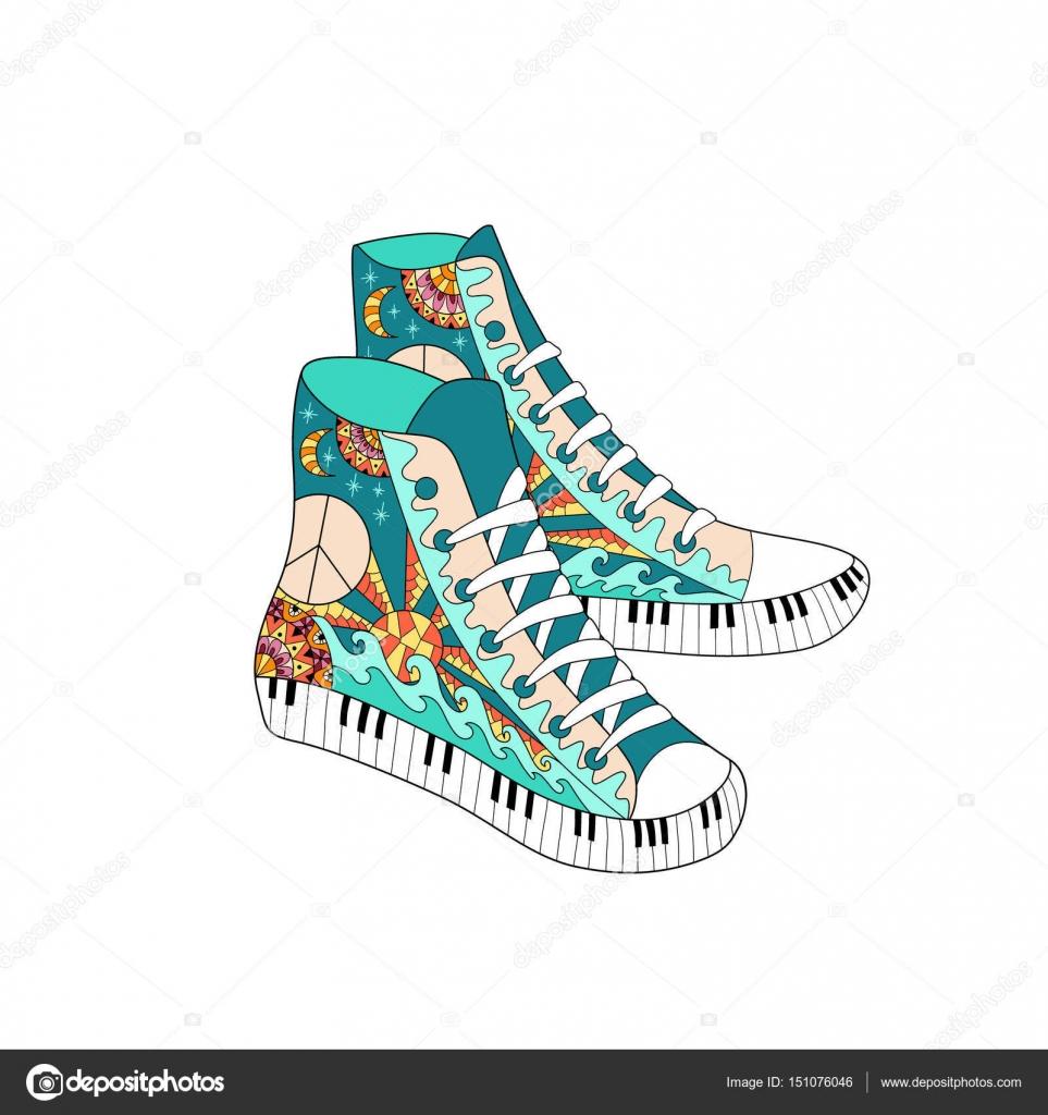 Zapatillas de deporte de alto colorido hippie estilo zentangle. Moda ...