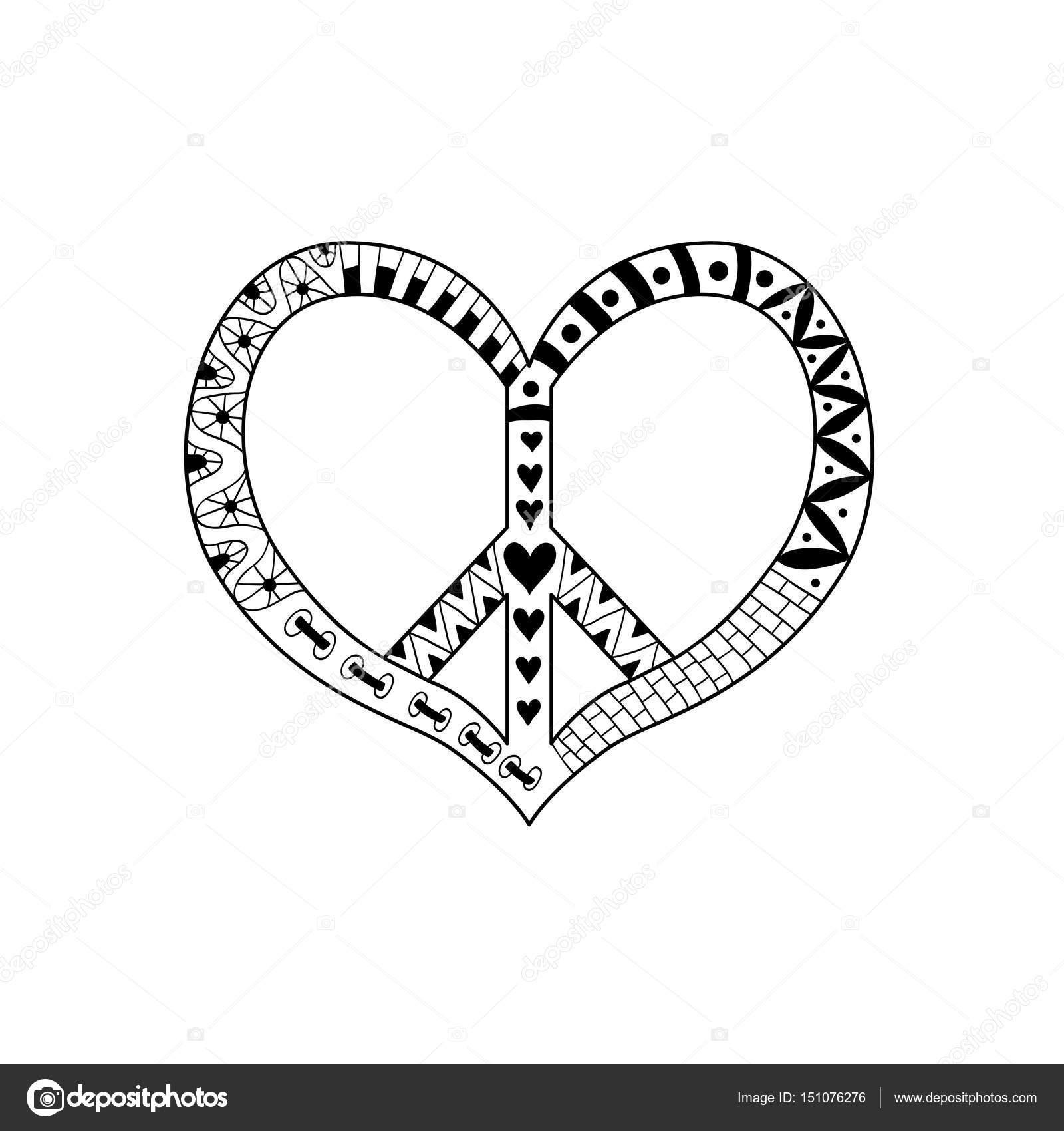 Hippie Vintage Friedenssymbol in Zentangle Stil für Erwachsene Anti ...