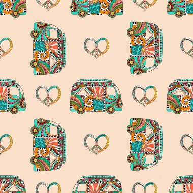 Seamless pattern with colorful hippie camper bus and symbol peacel in zentangle style.