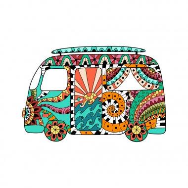 Hippie vintage car a mini van in zentangle style. Colorful hippie bus.