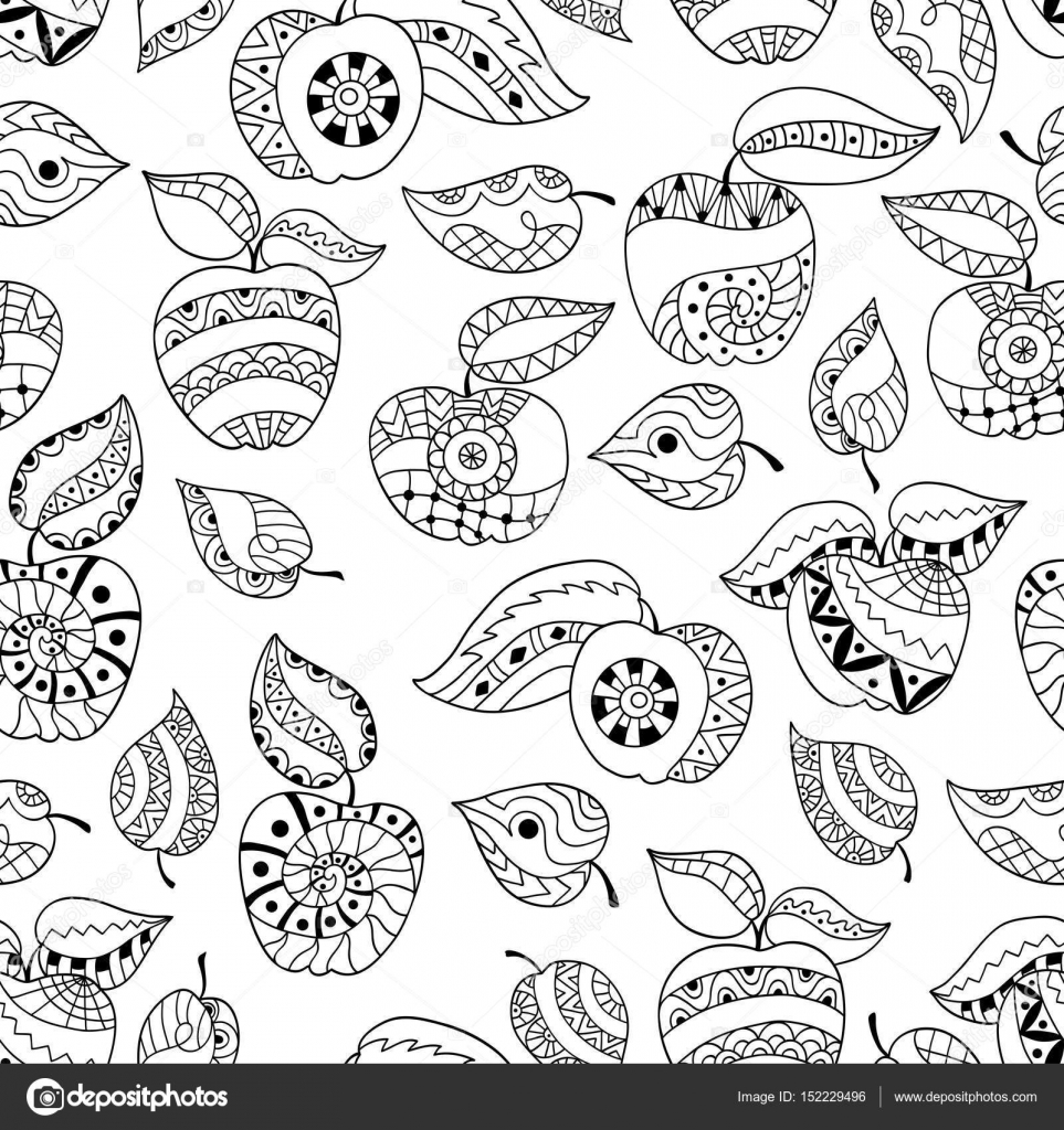 Mano dibujadas manzanas y hojas para anti página del colorante de ...