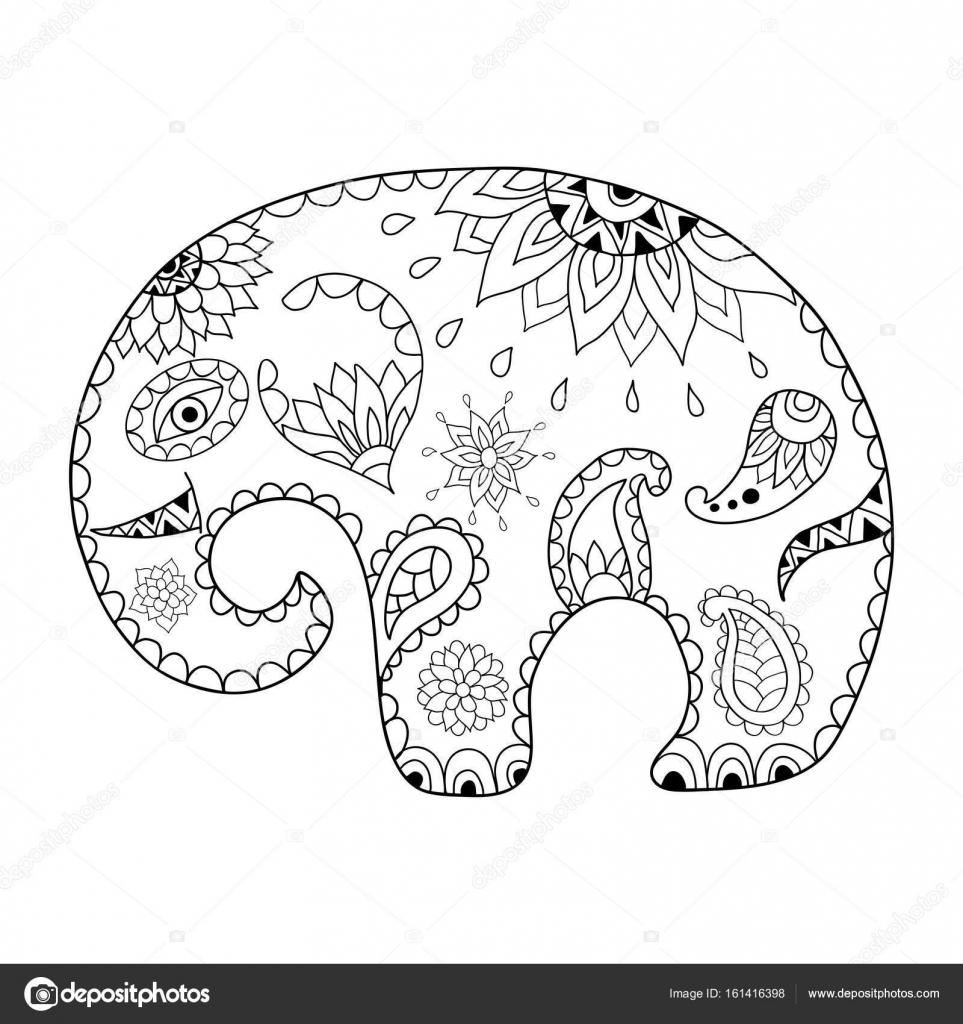 Elefante de dibujos animados dibujados mano para adultos anti estrés ...