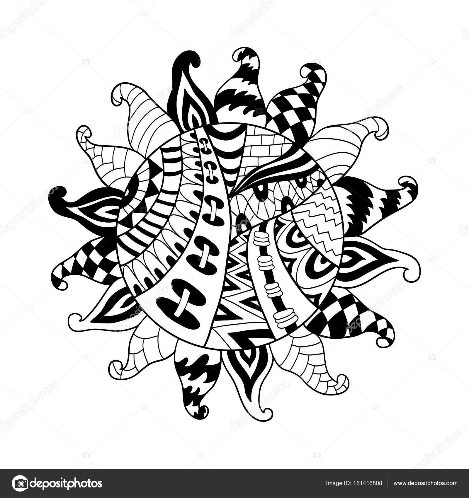 Zentangle Vektor Sonnensymbol. Tribal Sun doodle ornament ...