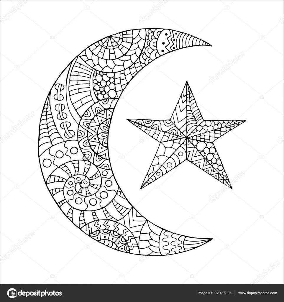 La Main Dessinée Nouvelle Lune Et étoile Pour Anti Page à