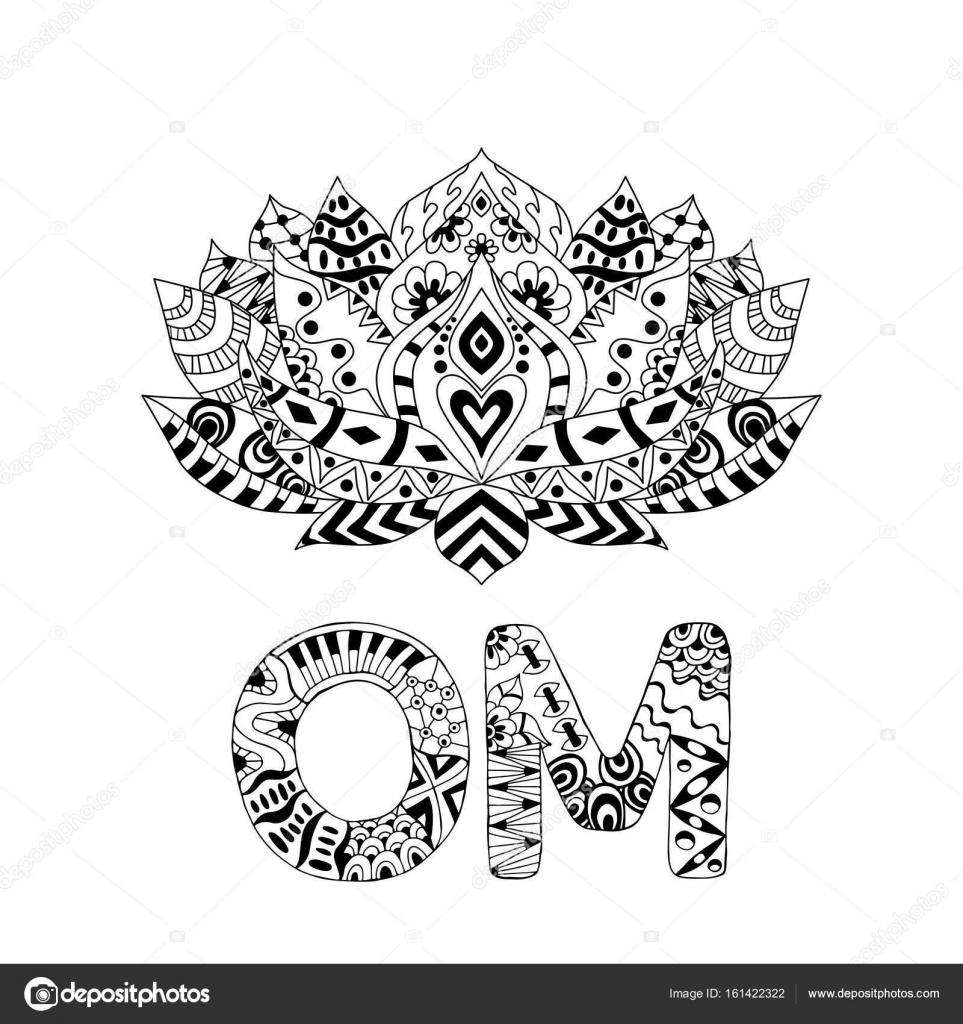 Lotus flower silhouette and symbol om stock vector maroshka lotus flower silhouette and symbol om stock vector mightylinksfo