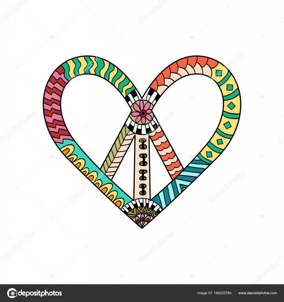 Hippie Vintage Friedenssymbol in Zentangle Stil. Pazifische ...