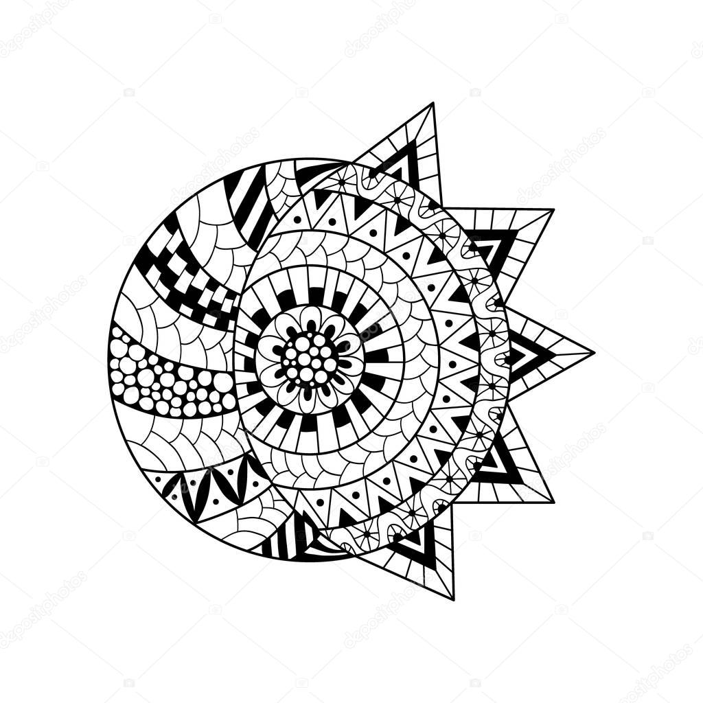Hand drawn sun and new moon for anti stress colouring page.