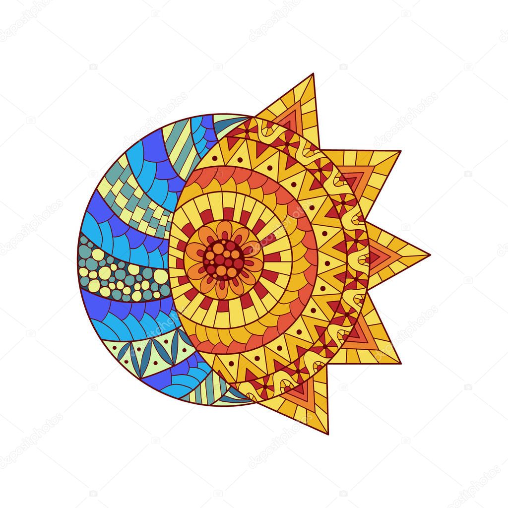 Hand drawn sun, new moon and star for anti stress colouring page