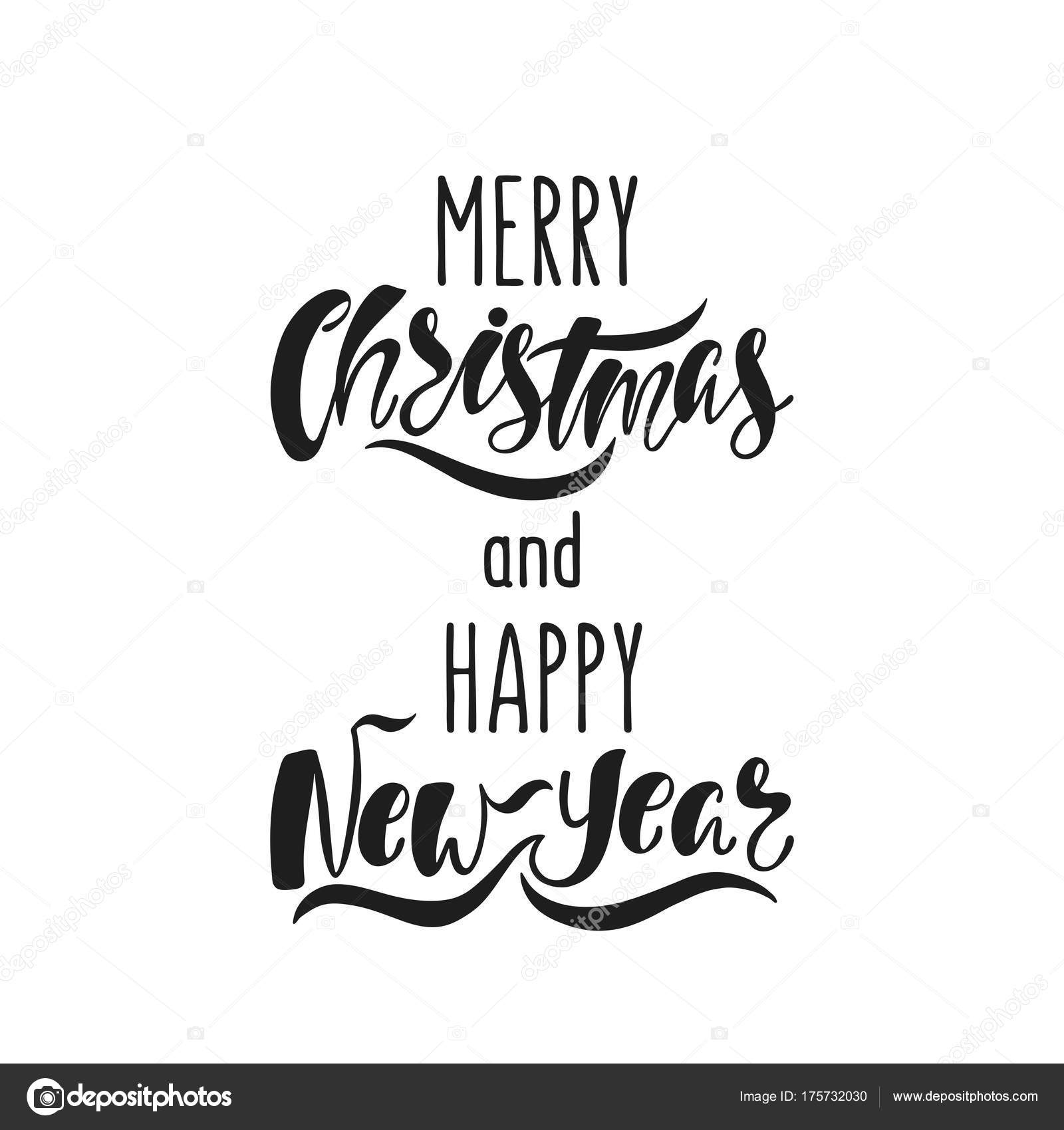 merry christmas and happy new year hand drawn calligraphy text holiday typography design black and white christmas card stock vector c maroshka 175732030 https depositphotos com 175732030 stock illustration merry christmas and happy new html