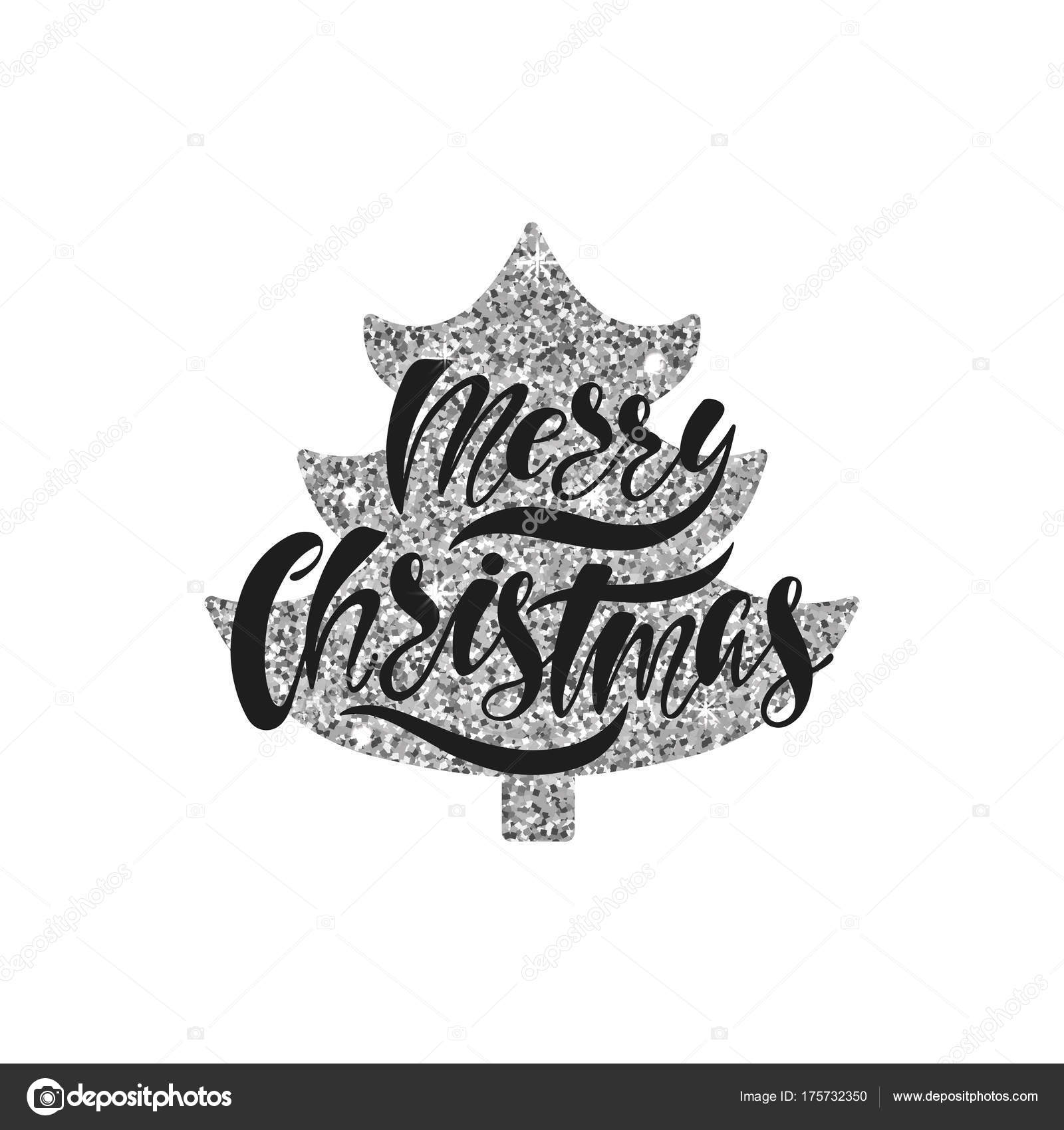 Merry Christmas. Hand drawn calligraphy text. Holiday typography ...