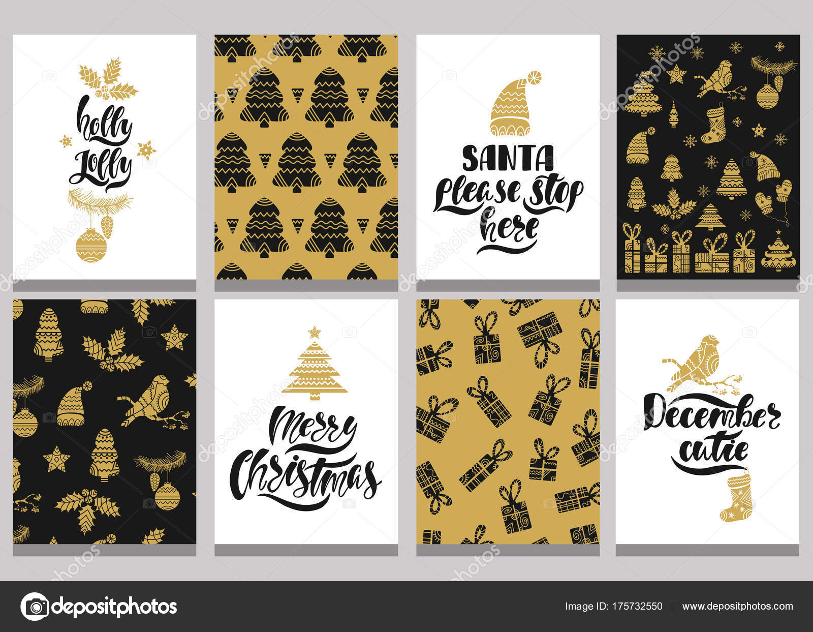 Set of christmas greeting cards. Xmas postcards with seamless ...