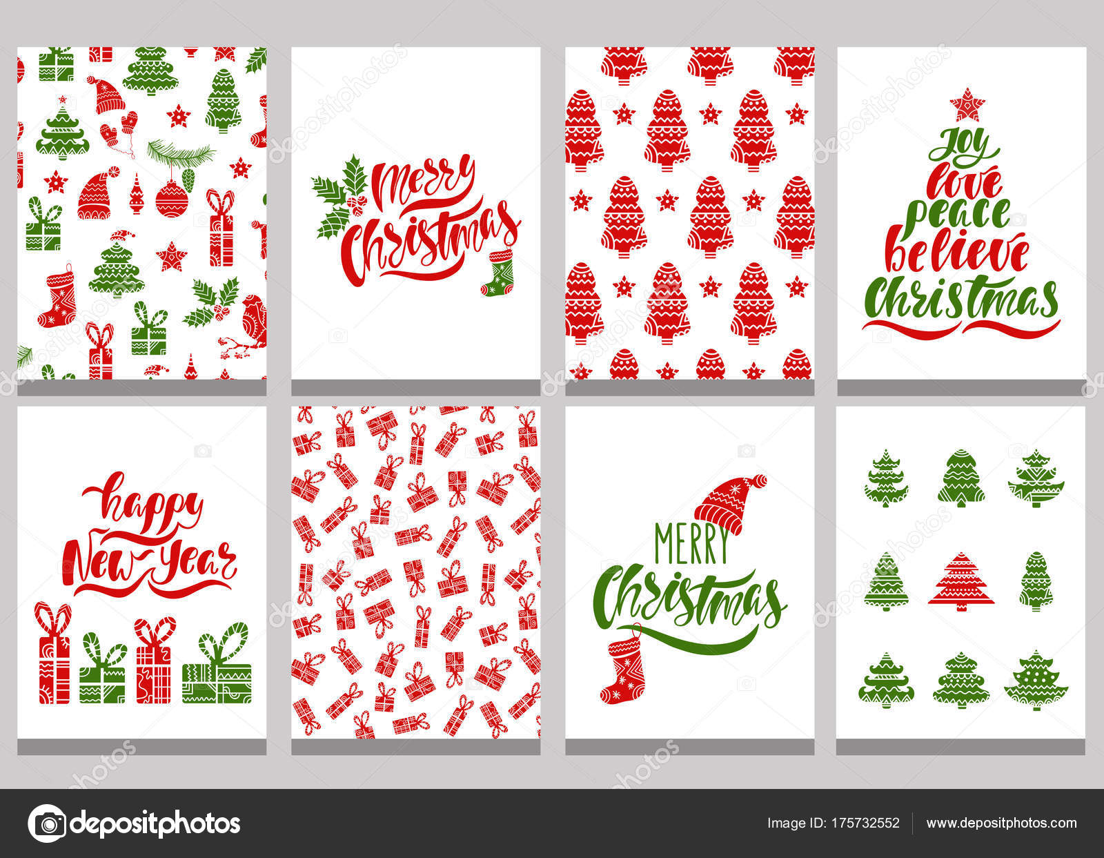 Set Of Christmas Greeting Cards Xmas Postcards With Seamless