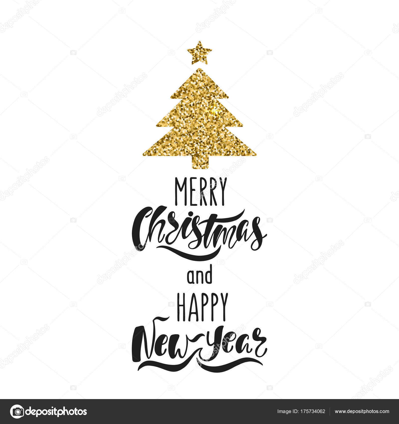 merry christmas and happy new year hand drawn calligraphy text holiday typography design with glitter christmas tree black and gold christmas greeting card stock vector c maroshka 175734062 https depositphotos com 175734062 stock illustration merry christmas and happy new html