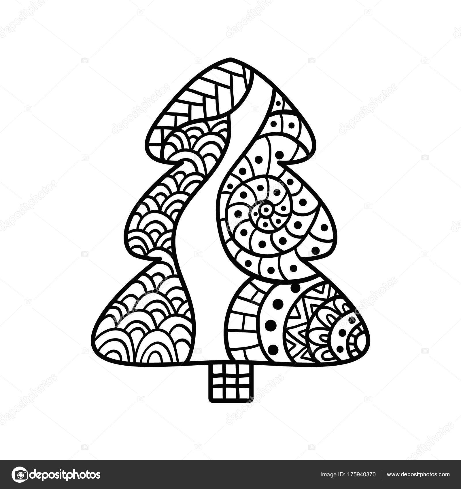 Christmas Card In Zentangle Style For Adult Anti Stress Stock
