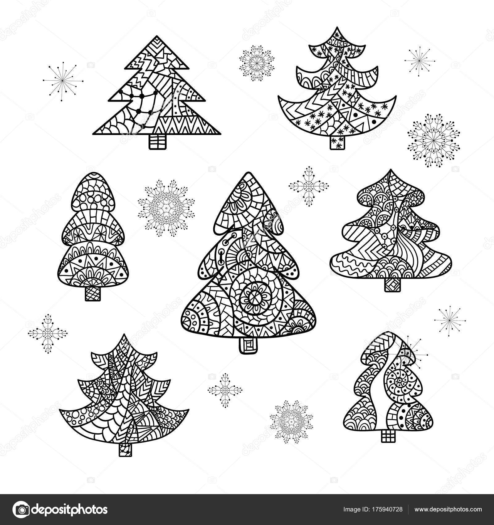 Set of Christmas trees and snowflakes. Christmas card in zentangle ...