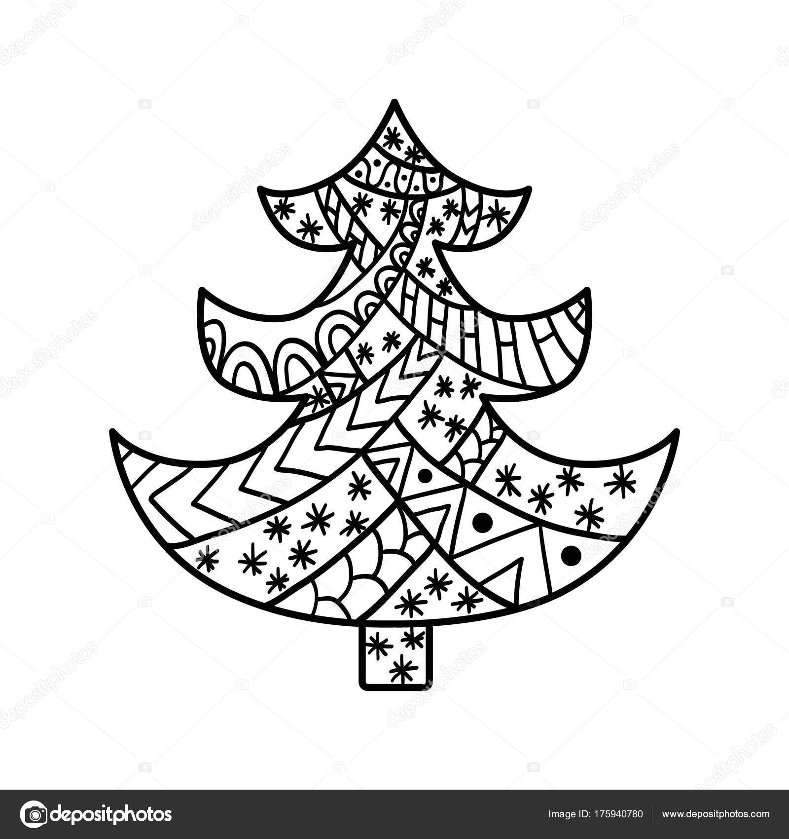 Christmas card in zentangle style for adult anti stress. — Stock ...