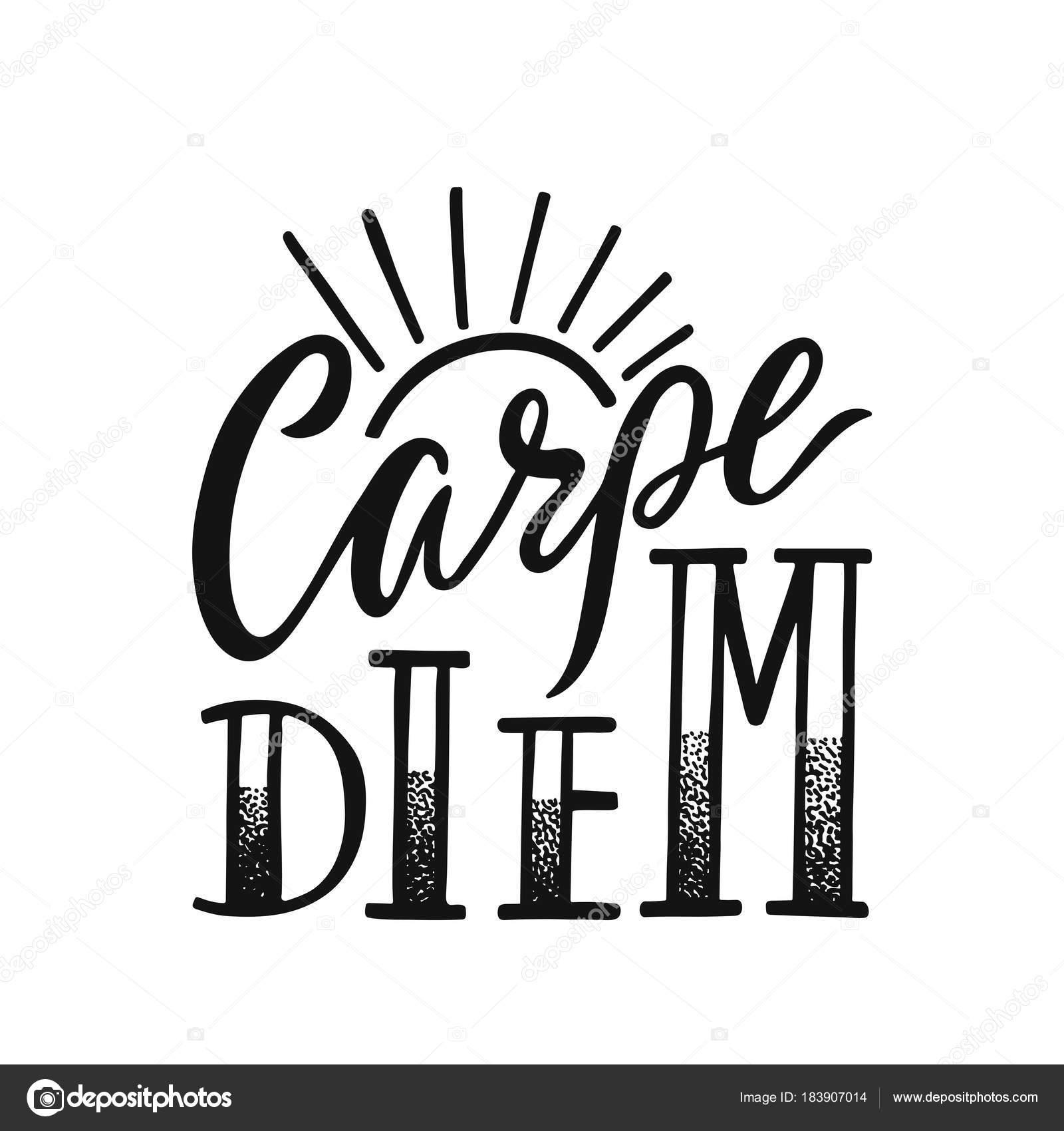 e5596b7c6ad7 Το Carpe Diem - Λατινική φράση σημαίνει Αδράξτε την ημέρα. Χέρι συρμένο  εμπνευσμένη διάνυσμα προσφορά