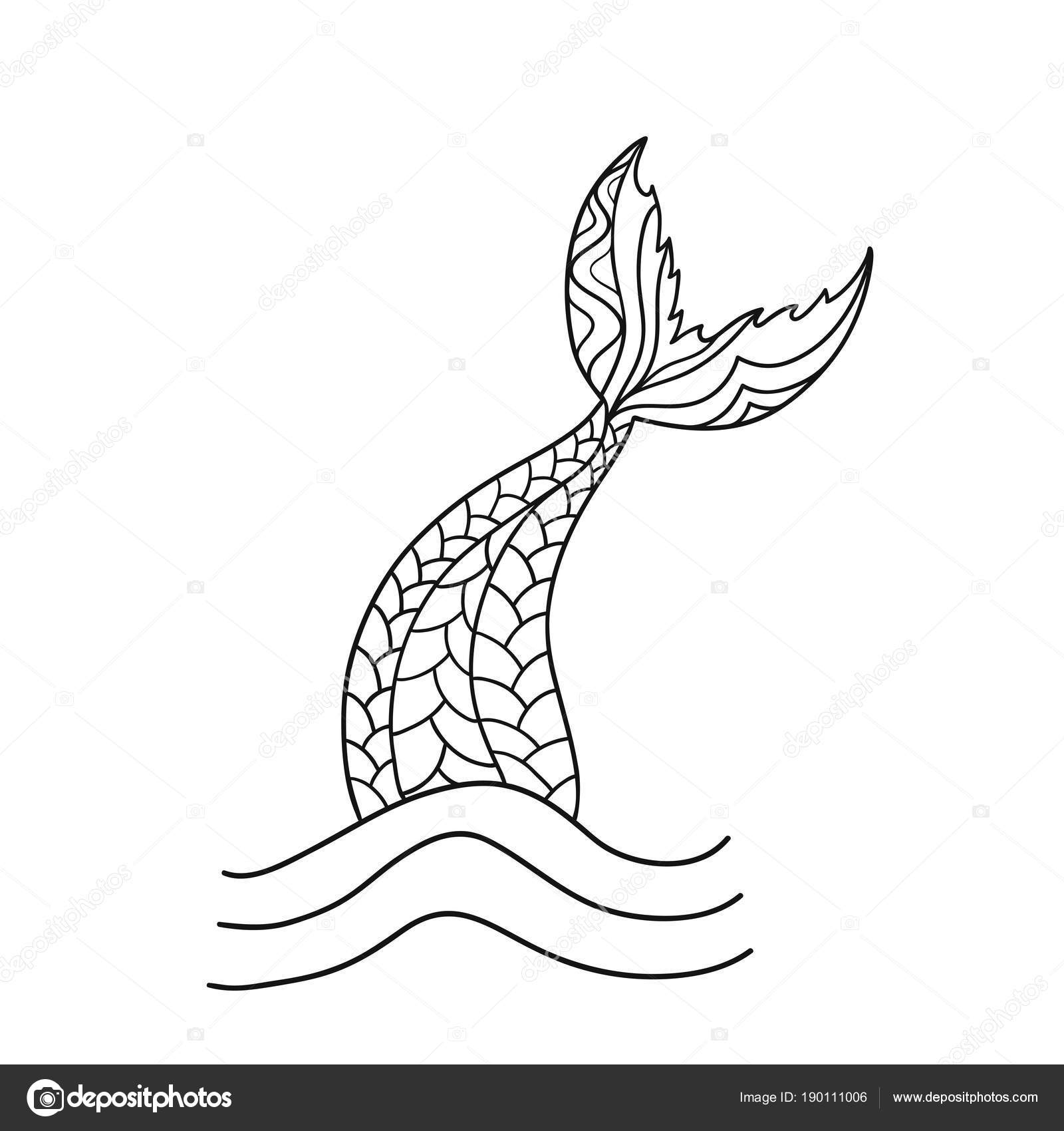 Mermaid tail cartoon drawing for Mermaid tail coloring pages