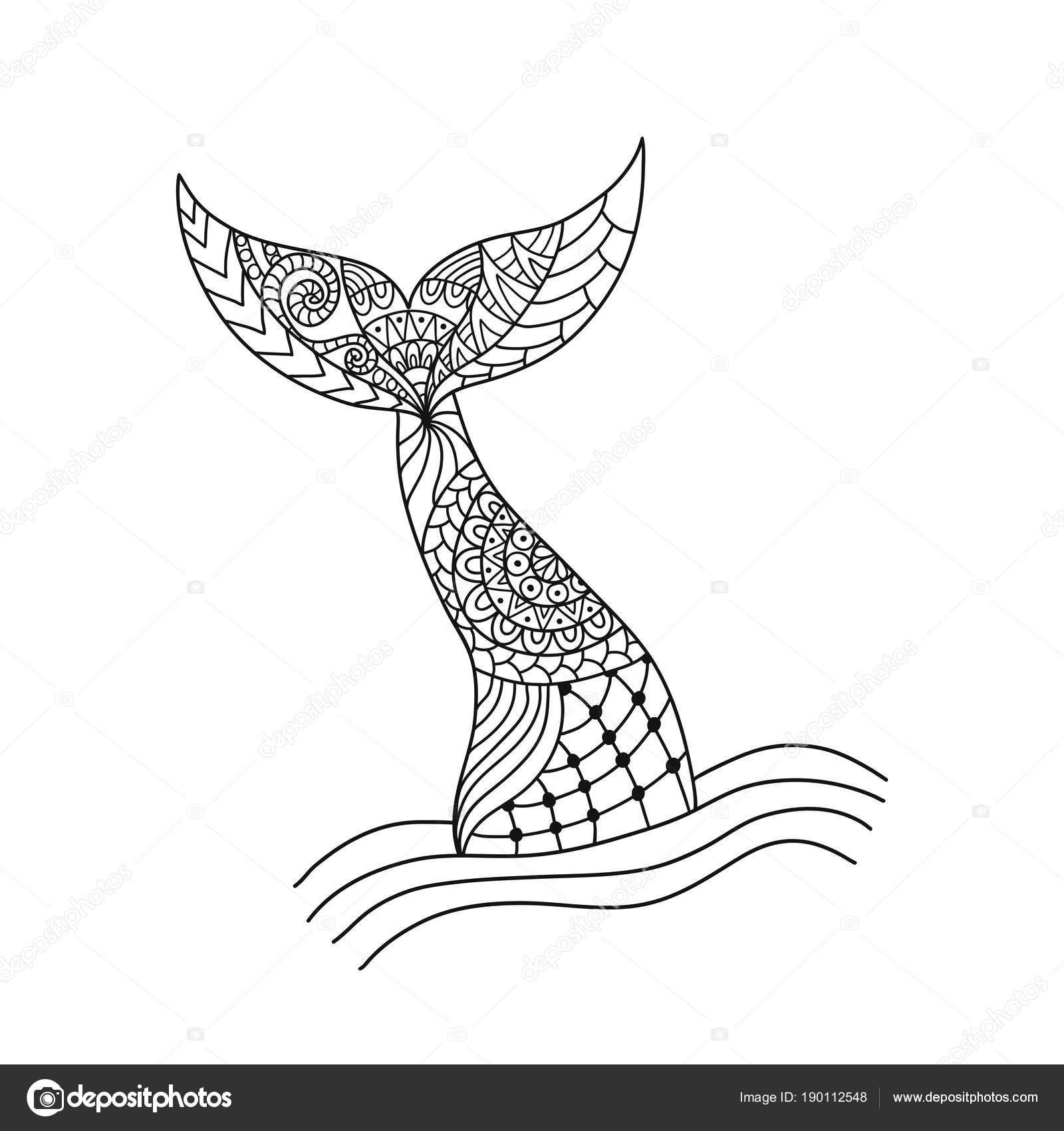 Cola de sirena ornamental dibujada a mano. Ilustración de vectores ...