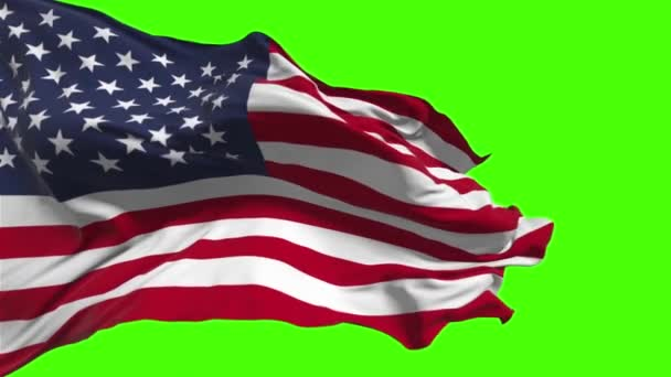 American flag waving on the wind on green background