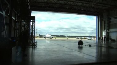 The hangar is open for aircraft entry