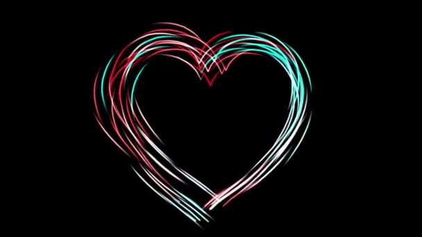 The heart symbol is drawn using a colorful bright husky, a symbol of love and wedding, movement and animation of colored particles,