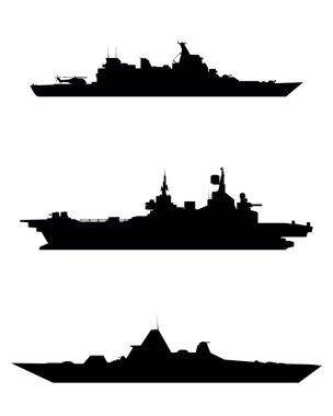 Three warship silhouette