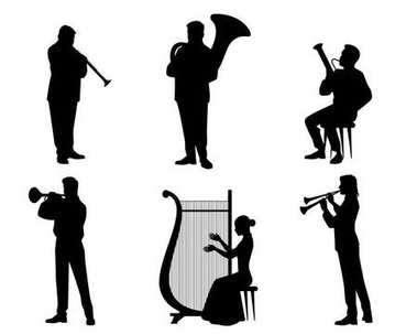 Silhouettes of orchestra musicians