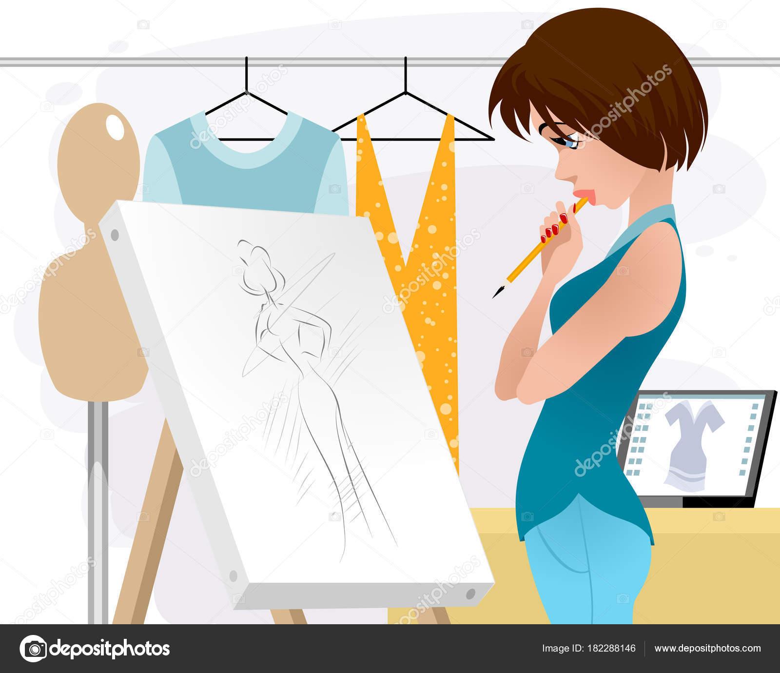 4e013f786d Εικονογράφηση διάνυσμα ρούχα γνωστών σχεδιαστών στο χώρο εργασίας —  Διάνυσμα με ...