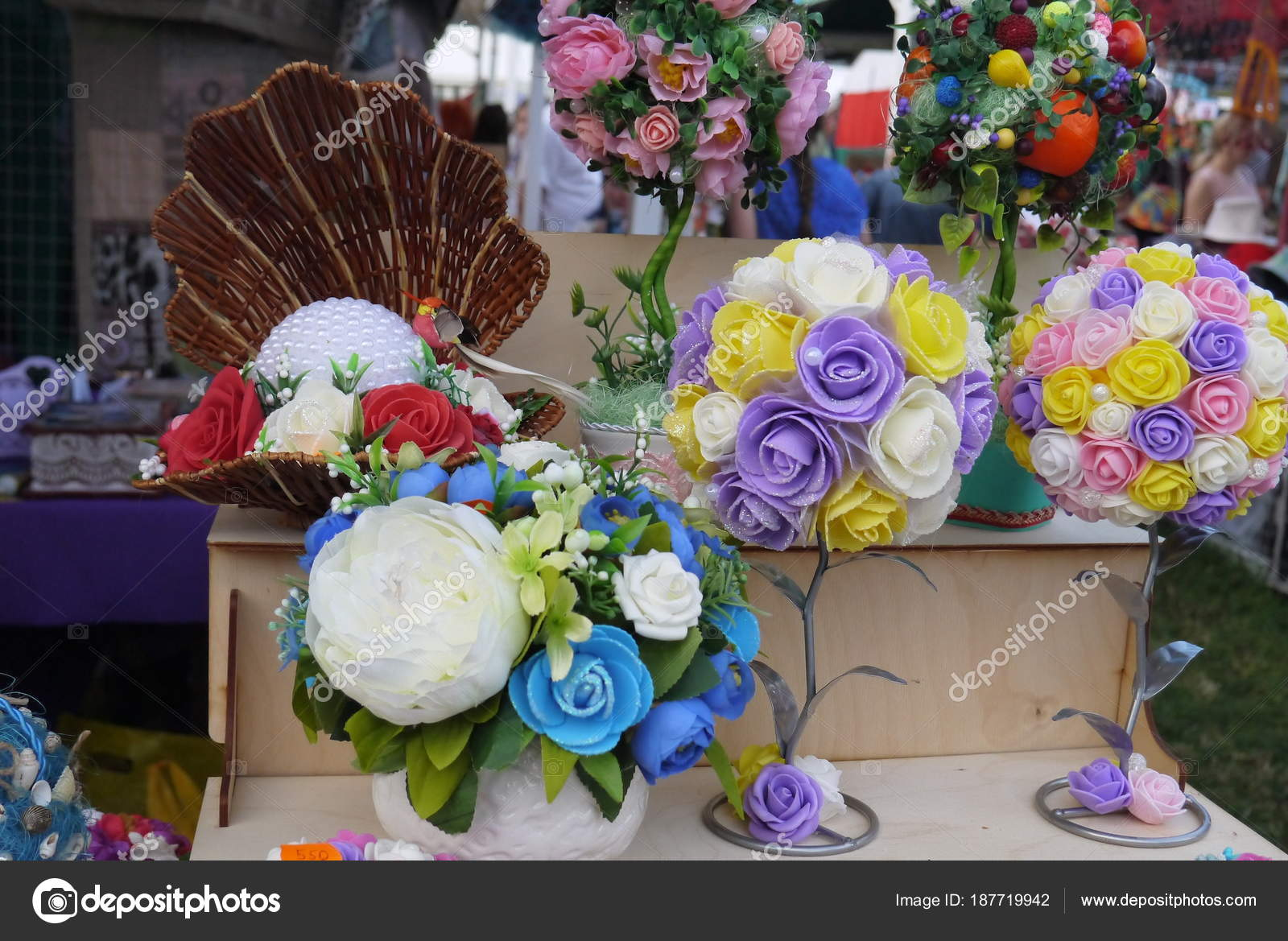 Bouquets Artificial Flowers Made Various Materials Stock Photo