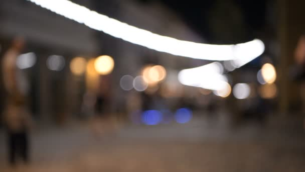 Abstract blur image of night festival on street background with bokeh.