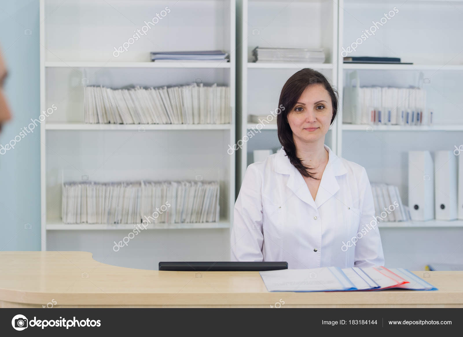 hallway the emergency room and outpatient hospital and woman receptionist stock photo
