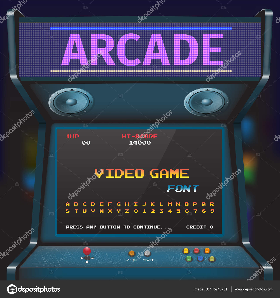 Arcade Video Game Font. 8 Bit Font. Arcade Retro Machine