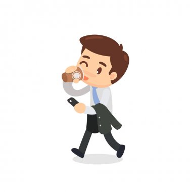 A businessman is walking and drinking a cup of coffee.
